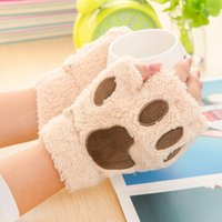 bare cats - 200pcs Woman Winter Fluffy Bear Cat Plush Paw Claw Glove Novelty soft toweling lady s half covered gloves mittens Valentine s Day Gift