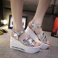 Wholesale Women Sandals Summer Shoes Open Toe Platform Sandals Thick Heel High Heel Sandals Ladies Wedges Shoes Size TX0311 smileseller