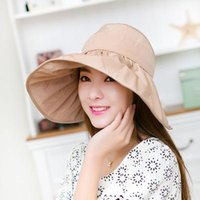 big head hats - Summer Large Brim Beach Sun Hats Cap For Women UV Protection Hat Women With Big Heads Foldable Style Fashion Lady s Sun Hat