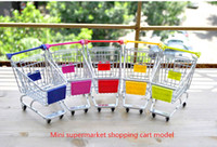 Wholesale Decoration creative children s toys Storage Mini Desktop Storage cart supermarket trolley car