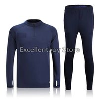 Wholesale Thailand quality new season la liga blue sweater tracksuit set for outdoors soccer training suit