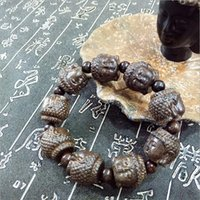 agarwood beads - India Agarwood hand carved Buddha head odd Phoebe beads bracelets leather gray men old material rosary