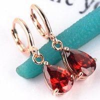 Wholesale Fashion New Women Girl s k Gold Plated Pink Red Green Champagne CZ Stone Drop Dangle Earrings Gift Jewelry