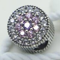 Wholesale New Spring Sterling Silver Dazzling Floral Charm Bead with Pink Purple Cz Fits European Pandora Style Jewelry Bracelet Necklace