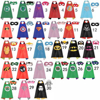 capes - 70 CM Double Side kids Superhero Cape Batman Ironman Ninja Turtles Spiderman Captain America Supergirl kids capes with mask in stock