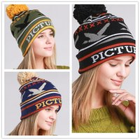 army hat pictures - New Fashion quot Picture quot Letters Jacquard Beanie Knitted Hat With Pom Poms Women Men Winter Sports Headgear Head Warmer Beanie Cap Top Quality