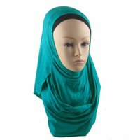 Wholesale Factory directy high quality collection design easy wear muslim hijab Plain color jersey two faces instant shawl