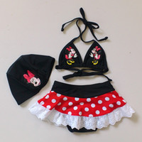 Wholesale 5sets Y Kids Girls Minnie Mouse Bikini Swimsuit with Matching Cap Girls Bathing Suit Petti Skirt Swimwear