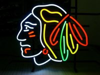 Wholesale NHL CHICAGO BLACKHAWKS HOCKEY REAL NEON Real Glass Neon Light Sign Home Beer Bar Pub Recreation Room Game Room Windows Garage Wall Sign