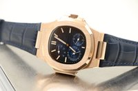 belt buckle backs - Limited Edition Nautilus Automatic Mechanical Blue Dial Leather band Transparent Back Watch Hkpost