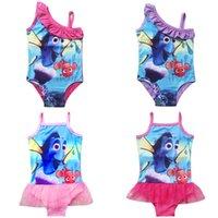 Wholesale Finding Dory Bikini Swimwear For Baby Girls Swimsuit Cute Cartoon Print Sling Lace TUTU One piece Bathing Suit