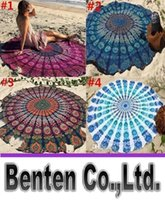 Wholesale 11 Types CM Round Beach Towel Bohemian Style Chiffon Fabric cm Beach Towels Round Printed Serviette Covers for Summer LLFA6130