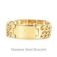 bible wristbands - Spanish Bible Cross Lord s Prayer Pulseras L Stainless Steel Bracelet Wristbands Bangle Trendy belief Jewelry Brace lace Promotion