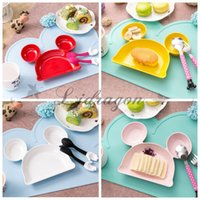 baby plastic spoons - Fedex DHL Free INS Baby Kids Mickey Head Dishes Cartoon tableware Dinner Plate Infant Placemat Kitchen Accessories Without Spoon Z565
