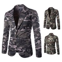 Wholesale 2016 Fashion Brand Suit Jacket Men Military Camouflage Blazer Cotton Slim Single Button Suit Men Jacket costume homme