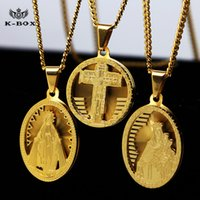 Wholesale Mens Stainless Steel Gold Jesus Christ Virgin Mary Preaching Statue Medal Pendant w inch Cuban Chain Hip Hop Necklace