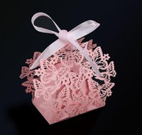 Cheap 50pcs Romantic Wedding Party Decor Butterfly DIY Candy Cookie Gift Boxes Bags Wedding Birthday Candy Box with Ribbon 5 Colors