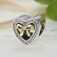 al por mayor pulsera del corazón de cuentas-Delimitada por amor en forma de corazón encantos de plata de ley con 14k el oro del arco CZ clara de estilo Pandora con cuentas encanto pulseras S289