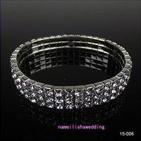 beaded round - Shiny Sliver Beaded Rhinestone Crystal Bangle Bracelet for Wedding Party Cheap Bridal Jewelry Christmas Party Gift