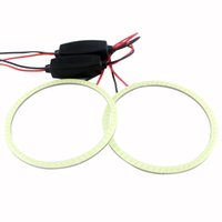 auto headlight lens - Everbright pair Auto Halo Ring COB With Constant Headlight Car Angel Eyes lens light foglights sideligt lens LED Light