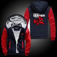 Wholesale Fall WISHOT Finding Francis Deadpool Super Warm Thicken Fleece Zip Up Hoodie Men s Coat Wade Wilson movie cotton
