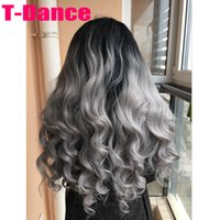 Wholesale High Quality Silver Grey Body wave wig with dark roots Natural Black Gray t Ombre Synthetic Lace Front Wig Heat Resistant fiber