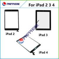 Bon Marché Écrans tactiles en verre-Pour iPad 2 3 4 écran tactile Digitizer Assemblée Façade en verre Objectif pièce de rechange pour iPad Blanc Noir expédition rapide