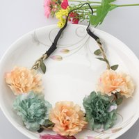 agate beach - Fashion Women Bride Flower Headband Bohemian Style Floral Crown Hairband Ladies Elastic Beach Hair Band Leaf Hair Accessories
