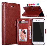 achat en gros de cadres photo-Pour l'iPhone 7 6 6S plus 5S Étui rétro de cuir de portefeuille de support de renversement de cru avec la couverture de téléphone de cadre de photo pour iphone7 5 7plus