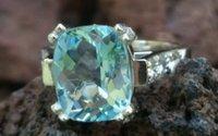 antique aquamarine jewelry - Antique Platinum Aquamarine Diamond Cocktail Ring Estate Jewelry gm