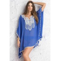 beach caftan - New Women Crochet Lace Neck Pompom Trim Sheer Chiffon Caftan Bikini Cover Ups Casual Beach Dress DL41519