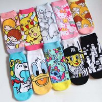 ash knitted - Cartoon Adult Socks Poke Pikachu Squirtle Ash Boat Socks D Cat Animal Printed Cotton Sport Basketball Ankle Socks Lady stocking XW239