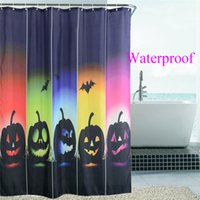 Wholesale 2016New Design Halloween Pumpkin Squad Waterproof Polyester Shower Curtains Bath Bathing Sheer Curtain for Home Store School Hostel Decorati
