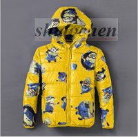 Wholesale Kids Minions Hoodies Despicable Me Winter Down Coat Cotton Padded Jacket Sweatshirts Costume Cosplay Cardigan Outerwear Jumpers A1137