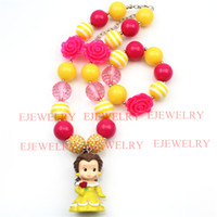 belle pearl - fashion jewelry cartoon character belle princess pendant pink flower pearl rhinestone beads chunky girl bubblegum kids Necklace bracelet set
