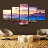 artwork and paintings - 5 Piece Modern Abstract Art The Sunset and The mountain Modern Home Wall Decor Canvas Picture Art HD Print Painting On Canvas Artworks