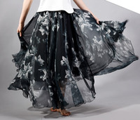 address printing - Long Skirt Women s Clothing Woman Address Skirts Fashion Chiffon Printing cms Long A style Skirt Layers chiffon fabric