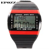 auto stop red - 2016 Brand Epozz simple swimming sport watches men streamline body rectangle dial alarm stop watch function Auto date relogio