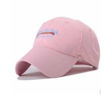 Wholesale New arrival YJB A122 Pink Baseball Cap Hat dog hotdog bending spring and summer sun tide hat adjustable cap men women fashion popular cap