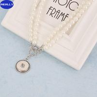 Perle collier pendentif Prix-Vraiment gros NOOSA Snap bijoux en perles d'imitation blanc avec 18mm en alliage d'étain collier pendentif bouton Livraison gratuite