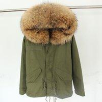 Nouvelle grande fourrure de fourrure de raton laveur de veste d'hiver femmes parka véritable manteau de fourrure réel pour les femmes épaisse doublure douce abrigos de piel mujer 2016