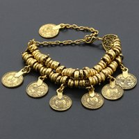 ancient gold coins - New Bohemia Retro Bracelet Coin Carve Patterns Or Designs Bracelet Short Paragraph Female Bracelet Ancient Silver Ancient Gold