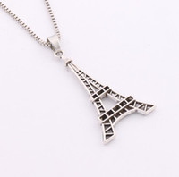 big cross chain - 2016 Hot x24 mm Antique Silver Flower Big Eiffel Tower Pendant Necklaces inches Chains N222