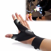 Wholesale New Survival Camping Hiking Sport Cycling Gloves LED Flashlight Torch Lamp