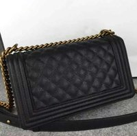 Wholesale Fab Price Medium CM Classic Style Le Boy Black Genuine Caviar Leather Plaid Flaps Shoulder Chain Bags Vintage Gold Silver Hardware