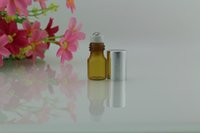 ams screen - SMALL ML AMBER EMPTY PERFUME ROLL ON ROLLER BALL GLASS BOTTLE AMS