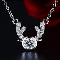 big antlers - fashion style sterling silver necklaces pendant cute antler with big crystal real silver elegant jewelry for women