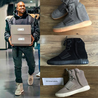 Wholesale NEN Boost Glow In The Dark Brown Kanye West Leather Ankle Boots Men s Sport Running Shoes With receipt laces dust bags boxes
