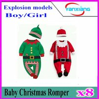 bebe caps - 8pcs Christmas Baby Boys Rompers New Year Green X mas Outfits With Foot Cap Suits Cute Baby Clothes Bebe Jumpsuits Overalls YX HY