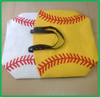 Wholesale white baseball Jewelry Packaging Blanks Kids Cotton Canvas Sports Bags Baseball Softball Tote Bag for Children